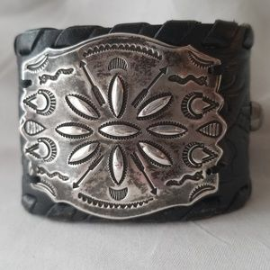 Vintage Navajo Sterling Stamped Leather Cuff